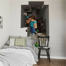 3D Mine Craft Wall Sticker Kids Room Cartoon Mural Decals Familly Home Decor