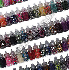 Pro 82 Bottles Mixed Embellishments Metal Pearl Nail Art Gems Studs Decals Set