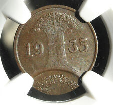 NGC NAZI ERROR COIN AU-58 BN 1935-A 1 ReichsPfennig-Germany WW2 DOUBLE STRIKE!