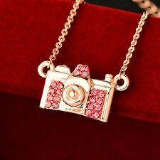Cute Pink Crystal Camera Choker Necklace For Women Girls 18K Rose Gold Brand