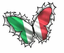 BUTTERFLY Ripped Torn Metal Design & Italy Italian il Tricolore Flag car sticker