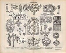 Lithografie 1890: Schmiedekunst. Schmied Kunst Metall Handwerk Tradition Arbeit