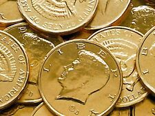 2 LB Gold Foil Wrapped Milk Chocolate Kennedy Half Dollar Coins Two Pound Candy