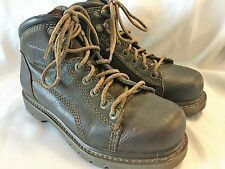Men's CAT Caterpillar Brown Leather Size 7 Steel Toe Boots Shoes Slip Resistant