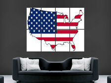 MAP OF THE USA POSTER STAR AND STRIPES ABSTRACT PICTURE WALL IMAGE ART PRINT