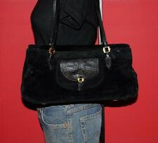 Vintage ELLEN TRACY Black Suede Leather Shoulder Satchel Bag Purse Tote Handbag