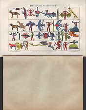 Chromo-Lithografie 1896: INDIANISCHE BILDERSCHRIFT. Wabino-Gesang der Odschibwa-