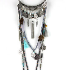 Fashion Ethnic silver Coin Bohemian Gray Leather Long Necklaces Pendants Dress