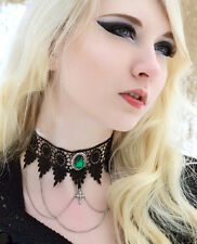 Gothic steampunk goth choker lace necklace victorian Emerald green with chains