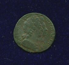 G.B./U.K./ENGLAND  WILLIAM & MARY  1694  FARTHING COPPER COIN, F/VF