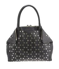Alexander McQueen De Manta Black Leather & Studded Shoulder Bag