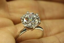 ENGAGEMENT RING WITH 5.00 CT ROUND BRILLIANT CUT 6 PRONG SET IN 14K WHITE GOLD