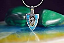 Sterling silver Small Arrowhead pendant w/ a Wolf & Wolf Paw w/ Turquoise chip