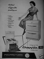 PUBLICITÉ 1956 CHAPPÉE CUISINIÈRES 4 FEUX TOUS GAZ - ADVERTISING