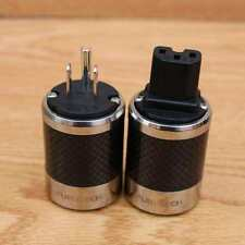 Furutech style FI-50M&FI-50 Copper Rhodium Carbon fiber US schuko power plug