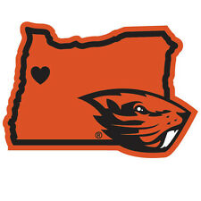 oregon state beavers state shape logo with heart vinyl decal