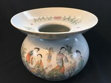 Superb Antique Chinese Porcelain Polychrome Spittoon 19th C. Artist Signed  汪照藜