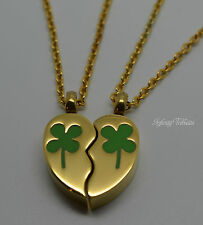 24k Gold Plate Twin Couple Shamrock Clover Keepsake Necklace-Cremation Urn Ashes