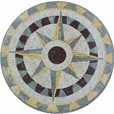 Nautical Direction Compass Interior Floor Home Marble Mosaic MD1479