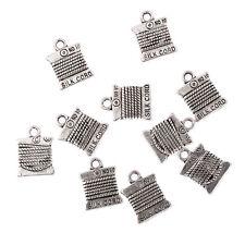 silk cord Tibetan Silver Bead charms Pendants fit bracelet/10pcs12x12mm