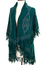 New Western Aztec Pattern Sweater/Vest/Wrap Poncho w/ Shawl Top- Turquoise