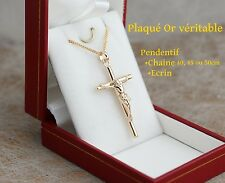 beau lot chaine ecrin pendentif jesus croix catholique en vrai plaqué or neuf