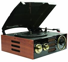 GPO Empire Record Retro Vintage Wooden Player Turntable with Built-in Radio
