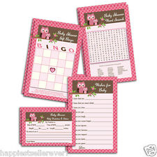 80 printed Baby Shower Games Advice Word Search Bingo Wishes for Baby Girl Owl