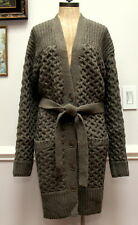 BANANA REPUBLIC Tiger EYE Green Long Cable Knit Cardigan Sweater Belted Coat L