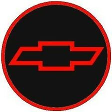 1ONLY CHEVY STYLE 2 9/16 RED&BLACK &RED DOMED BOW TIE Center Cap STICKER DECAL