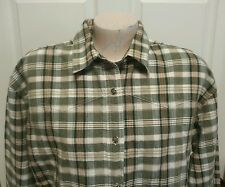 Wangler Blues Womans Western Shirt Size L Green Plaid Star Buttons
