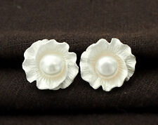 925 Sterling Silver Flower Stud Earrings 15 mm.With Pearl.