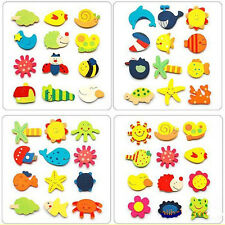 12PCS Cartoon Kitchen Fridge Magnet Wooden Toy For Kids Early Educational