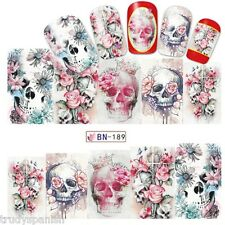 Nail Art Water Decals Full Wraps PINK Halloween Skulls Flowers Gel Polish (189)