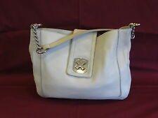 Calvin Klein Off-White Leather Silver Accents Satchel - GR8!