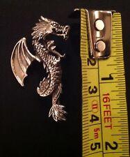 Argento Sterling combattendo Dragon spilla Magic MITO FANTASY PROTEZIONE 4cm NUOVO