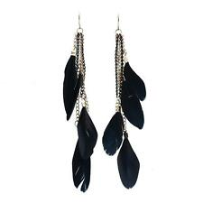 Tassel Feather Drop Hook Stud Earrings Hollow Long Dangle for Elegant Women