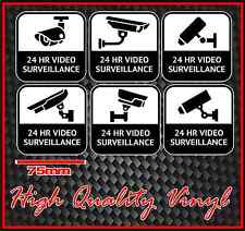 CCTV WARNING SIGN STICKER 24 HOUR VIDEO SURVEILLANCE BRAND NEW SET OF SIX