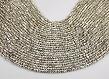 """2 Strand Silver Pyrite Faceted Gemstone Rondelle Beads 3.5-4mm Bead 13"""" Long"""