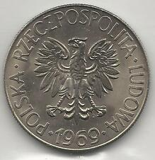 POLAND,  1969,  10 ZLOTYCH,  COPPER NICKEL,  Y-50a,  BRILLIANT UNCIRCULATED