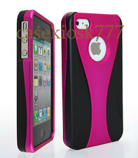 FOR IPHONE 4 4S CASE RUBBER IZED HOT PINK BLACK HARD + FILM/