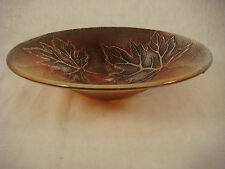 ART GLASS MAPLE LEAF BOWL ARTIST SIGNED BEAUTIFUL IRIDESCENT CANADIAN