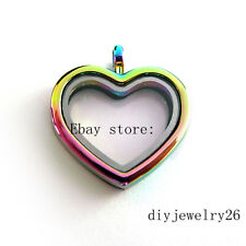 1pcs rainbow Plain heart   Floating Memory living  Locket fit floating charms