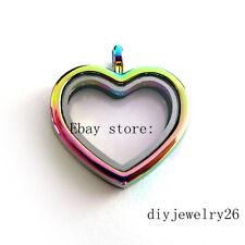 1pcs rainbow Plain heart   Floating Memory living  Locket fit floating charms
