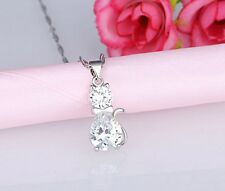 Silver HELLO KITTY CAT PENDANT NECKLACE SWAROVSKI ELEMENT CRYSTAL Gift Box A9