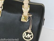 NWT Auth MICHAEL Michael Kors Grayson Medium Satchel Leather Black Handbag