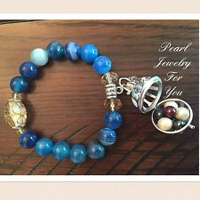 Pearl Cage Glass Beads Bangle Wish Pendant BRACELET For Akoya Oyster Pearls Blue