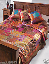 FAIR TRADE BROCADE PATCHWORK RAYON INDIAN WALL HANGING BEDCOVER 210 x 240cm B98