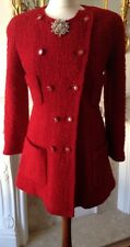 AUTHENTIC CHANEL BOUTIQUE Vintage Giacca Cappotto ROSSO BOUCLE FR38 UK10 sbalorditivo!