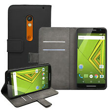 Wallet BLACK Leather Flip Case Cover Pouch Saver For Motorola Moto X Play